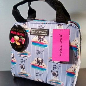Betsey Johnson Lunch Tote Purple - Boston Terriers